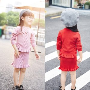 Girl Knitting Package Skirt Suit Tide Autumn Children In Children Jacquard Weave Lotus Leaf Border Suit 0201