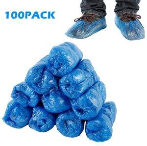 Plastica pattino a gettare Covers blu Outdoor Indoor pulizia scarpe coprire la pulizia Overshoes protezione Copriscarpe 100pcs / pack OOA8075