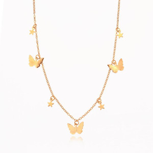 DHL Star Butterfly Choker Necklace Jewelry Gift for Women Teen Girls Dainty Chain Butterfly Pendant Necklace Collar for Women Ladies na