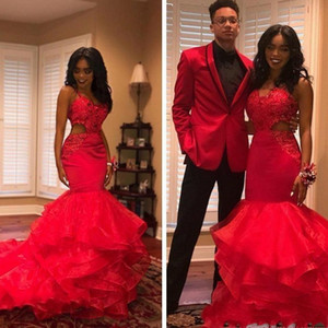 2019 Hot Red African Black Girls Tiered Prom Dresses Organza Cutaway Lace Appliques Beads Tiered Mermaid Evening Gowns Party Vestidos