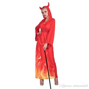 Devils Cosplay Roupa Halloween e Fancy Dress vestido de festa com chifres Tema Figurinista Lady Chama