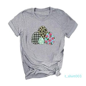 2020 Feitong Women T-shirt Happy Easter Letter Eggs Leopard Print O-Neck Short Sleeve T-Shirt Tee Ropa Mujer t03