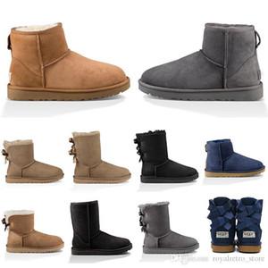 Top diseñador de botas para la nieve mujeres del cuero Australia arrodillarse medio a largo botines Negro Gris Castaño rojo azul marino azul café para mujer zapatos de las niñas