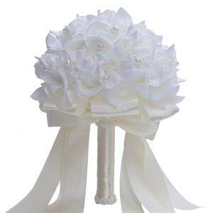 Handgemachter weißer PE Rose Künstliche Perle Hochzeit Brautstrauß Blumen Brautbrautjunfer Blumenstrauß Wedding Supplies Home Decoration T191108
