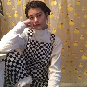 2019 Trendy Black and White Plaid Pattern Fashion Women Overalls Pants Straps Neck Pockets Buttons Straight Casual Jumpsuits High Quality
