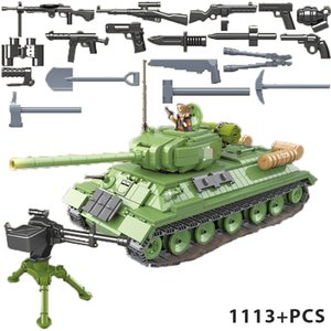 World war II T34 Medium Tank compatible military 1113PCS building block children toy #100063