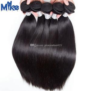MikeHAIR Perulu Hint Malezya Düz saç örgüleri Çift Wefted Yumuşak İnsan Saç Uzantıları Vizon Brezilyalı Saç Dokuma Paketler 6Pcs / lot