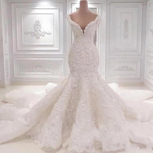 Real Images Luxurious Saudi Arabia Mermaid Wedding Dresses Scoop Neck Full Lace Appliqued Crystal Long Cathedral Train Wedding Bridal Gowns