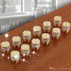 Lüks 24 K Gerçek Altın Çek Kristal Pirinç Yuvarlak Kabine Kapı Kolları ve Mobilya Mobilya Dolap Dolap Çekmece Çekin Kolları