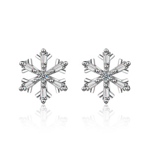 ED727 Popular Chinese Style ice out Earrings white crystal circle Shaped Fringe Ear Good Quality snowflake Design Women Jewelry