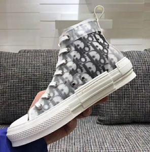 2020 nuevo diseñador de lujo Caminar bajo la zapatilla de deporte de la mujer en oblicuo bordado tela con cordones zapatos ocasionales de alta zapatilla de deporte de las mujeres