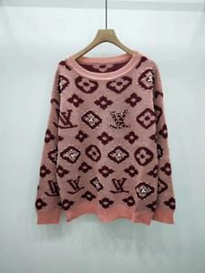 2019 de alta qualidade moda camisola de manga longa pulôver suéter de lã mistura moda fina high-end clothing07786266 das mulheres