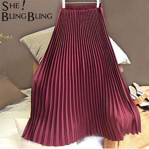 Sheblingbling mujeres falda larga del verano del resorte elástico de cintura alta Maxi falda plisada la altura del tobillo elegante femenino ocasional Faldas T200106