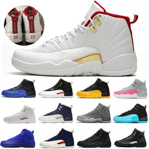 New 12s FIBA Reverse Taxi Men Basketball Shoes College Navy Game Royal Bordeaux Dark Grey WNTR Michigan Wings sports sneakers designer