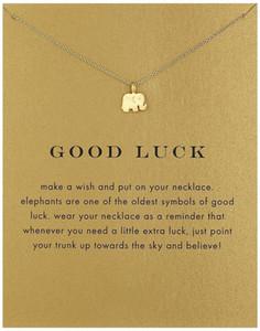 Collares Vintage-Elefant-Halskette Frauen Tieranhänger Claviclekette Good Luck-Halsketten-Valentinstag-Geschenk-Karte