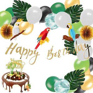 Jungle Party Deko-Set Honeycomb Parrot alles Gute zum Geburtstag Banner-Kuchen-Deckel Palmblätter Papierlaterne Balloons Safari Dusche