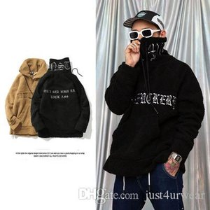 Mens Letter Embroidery Warm Hoodies Autumn Winter Hairy Sweatshirts Casual Stand Collar Drawstring Pullover Hip Hop Skateboard Male Tops