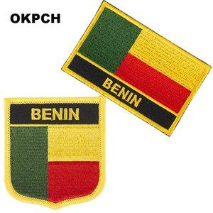 Envío gratis bandera de Benin bordado de hierro en parche 2 piezas por juego PT0033-2