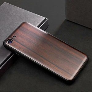 Real Ebony Wood Case + TPU For iPhone X XS Max XR 7 8 Hard Cover Carving Wooden Smartphone Shell Protector