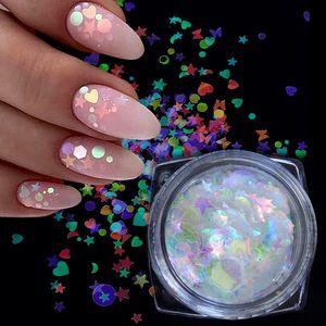 ail Art Rhinestones & Decorations 1 Bottle Chameleon AB Shiny Nail Art Glitter Sequins Mix Star Round Heart Flakes Mermaid Mirror Irr...