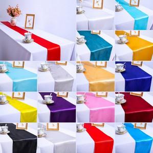 5 / 10шт 30x275cm жаккардовый стиль атласный стол Бегун для украшения гостиничного стола Свадебная вечеринка приемный стол бегуны скатерть