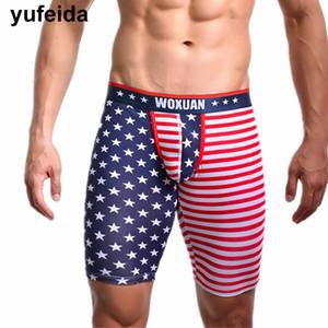 Mens pugili della biancheria intima USA Flag vita bassa mutande Medio Pantaloni Boxer Trunks Maschio Sissy Mutandine Pene Pouch Pantaloncini sportivi