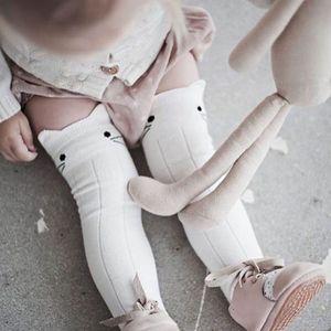 Recém-nascidos Crianças Crianças Bebê Meninas Meia Gato Bonito Dos Desenhos Animados Encantador Joelho Meias Altas Calças Justas Estiramento Algodão Perna Meias Mais Quentes