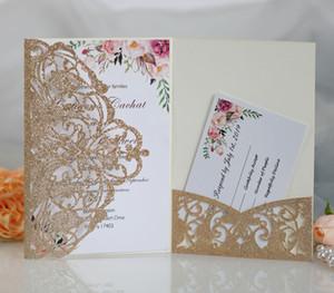 Pailletten Mesh-Pulver Hochzeit-Karten Vintage Geprägte Tri-fach Hochzeitseinladung mit Band-Bogen-Laser-Schnitt-Taschen-Hochzeits-Einladung Kit