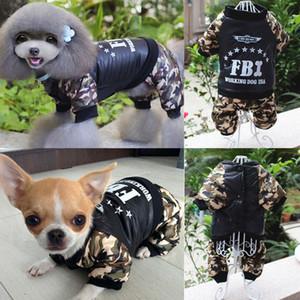 Caliente perro mascota ropa de invierno del FBI camuflaje Escudo del mono impermeable para grandes trajes del perro pequeño a medio OutwearChildrens