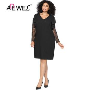 ADEWEL taille sexy noir plus dentelle Maj Robes Femmes élégant printemps col V froncé à manches longues robes soirée courte 5XL