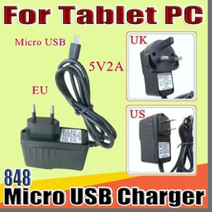 """848 DHL Micro USB 5V 2A Charger Converter Power Adapter US EU UK plug AC For 7"""" 10"""" 3G 4G MTK6582 MTK6580 call Tablet PC phone Phablet B-PD"""