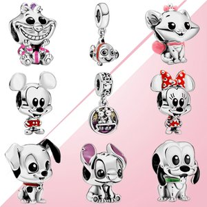 Fahmi 100% 925 Sterlingsilber Miqi Mini Mouse Pluto Katze Findet Nemo Dalmatiner-Flecken-Stich Emaille-Charme-Baby-Ansammlungs