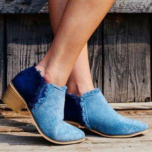 Hot Sale-Femmes Mode solide Couleur Tassel Bottes bout pointu Bottines à talons bas femmes confortables bottes en cuir Automne Casual de Nice Nouveaux