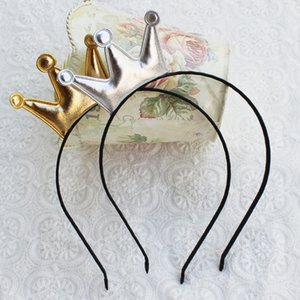 Little Gold and Silver Crown Princess Headband Sweet Girls Cute Headwear PU Surface Crown Tiara Hairbands Gift Hairband