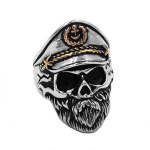 Livraison gratuite Vintage Marine Capitaine Crâne Anneau En Acier Inoxydable Bijoux Punk Ancre Marine Militaire Armée Biker Mens Anneau 891B