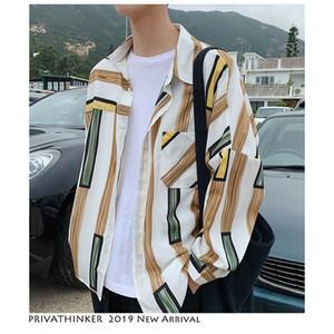 Camisas Às Riscas De Cor Privathinker Homens Moda 2020 Men Harajuku Patchwork Camisa Casual Manga Longa Manga Comprida Vestuário Masculino Coreano Vestuário T200417