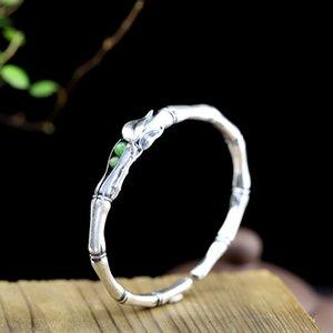 LouLeur 925 sterling silver jade bangles handmade bambu jade plum love bangles for women Eternal charms