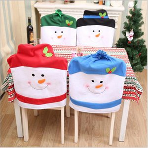 Nuevo diseño 4Pcs Christmas Chair Cover 60 * 50Cm Christmas Snowman Cartoon Chair Cover Pure Handmade Chair Decorations