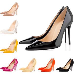 Christain Louboutin Moda Tasarımcısı Kadın Ayakkabı Kırmızı Dipleri Pompaları Yüksek Topuklu 8 cm 10 cm 12 cm Siyah Beyaz Çıplak Pembe Sivri Burun Elbise Düğün Shoes35-42