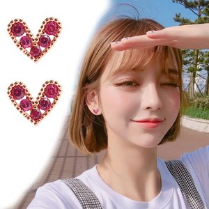 B329 Korean heart-shaped mini earrings with heart-shaped earrings with red clip earrings with transparent and invisible holes