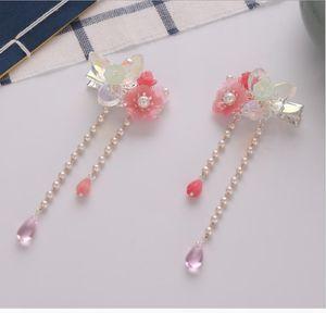 Eski stil küçük saç klipleri Yeni pembe kristal çiçek klipleri Çocuk performansı günlük Hanfu headdress