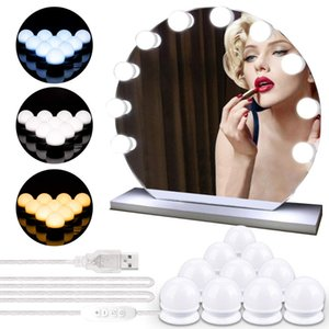 10 Ampoules LED lampe Kit Vanity miroir de maquillage 3 couleurs Luminosité réglable Lighted Hollywood Style de maquillage Miroirs cosmétiques