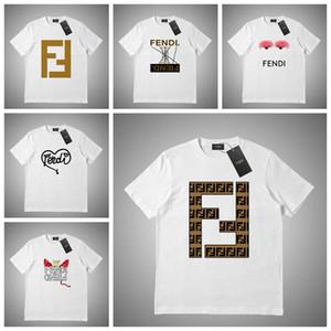 FENDI T-shirt de algodão dos homens S-2XL designer Marca Original com logotipo e alta qualidade Moda 100% Algodão Imprimir Carta T-shirt de Manga Curta
