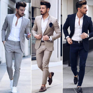Classy Gray Wedding Men's Suits Slim Fit Bridegroom Tuxedos For Men Two Pieces (Jacket+Pants) Groomsmen Suit Cheap Formal Business Jackets
