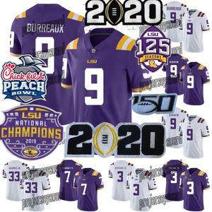 2020 Champions éliminatoire LSU Tigers College Football Jersey Burreaux diamant Patch Joe Burrow Ja'marr Chase Pseudo Beckham Delpit Mathieu