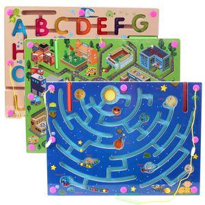 Pen empunhando Magnetic Maze Roll-on Toy Cidade Tráfego Maze Crianças Educação pai e filho interativos Brinquedos de Madeira