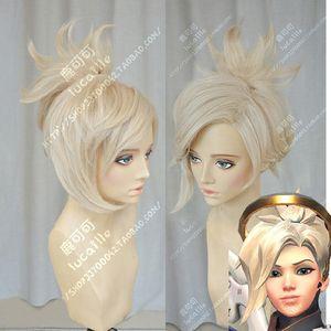 ePacket free shipping >Mercy Angela Ziegler Beige Blond Cosplay Ponytail Hair Wig