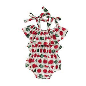 Säuglingsbaby-Riemen-Body für Kinder Freizeit Mädchen Rüschen Jumpsuit Neugeborenes Baby Sommer-Frucht Strapse Spitze Bowtie-Sleeveless Spielanzug 06