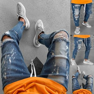 Biker Jeans Hombres Hole Denim Pants Mens Vintage Skinny Baggy Tshirts Moda Streetwear Hombre Calidad Algodón Slim Denim Pants