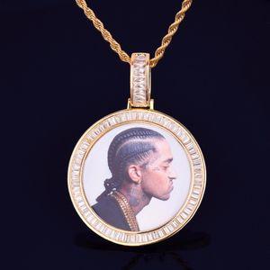 Nuevo marco de la foto de encargo medallones Ronda Collar de la foto de la cuerda colgante con cadena de oro cúbico joyería de Hip hop circón calle Roca de los hombres